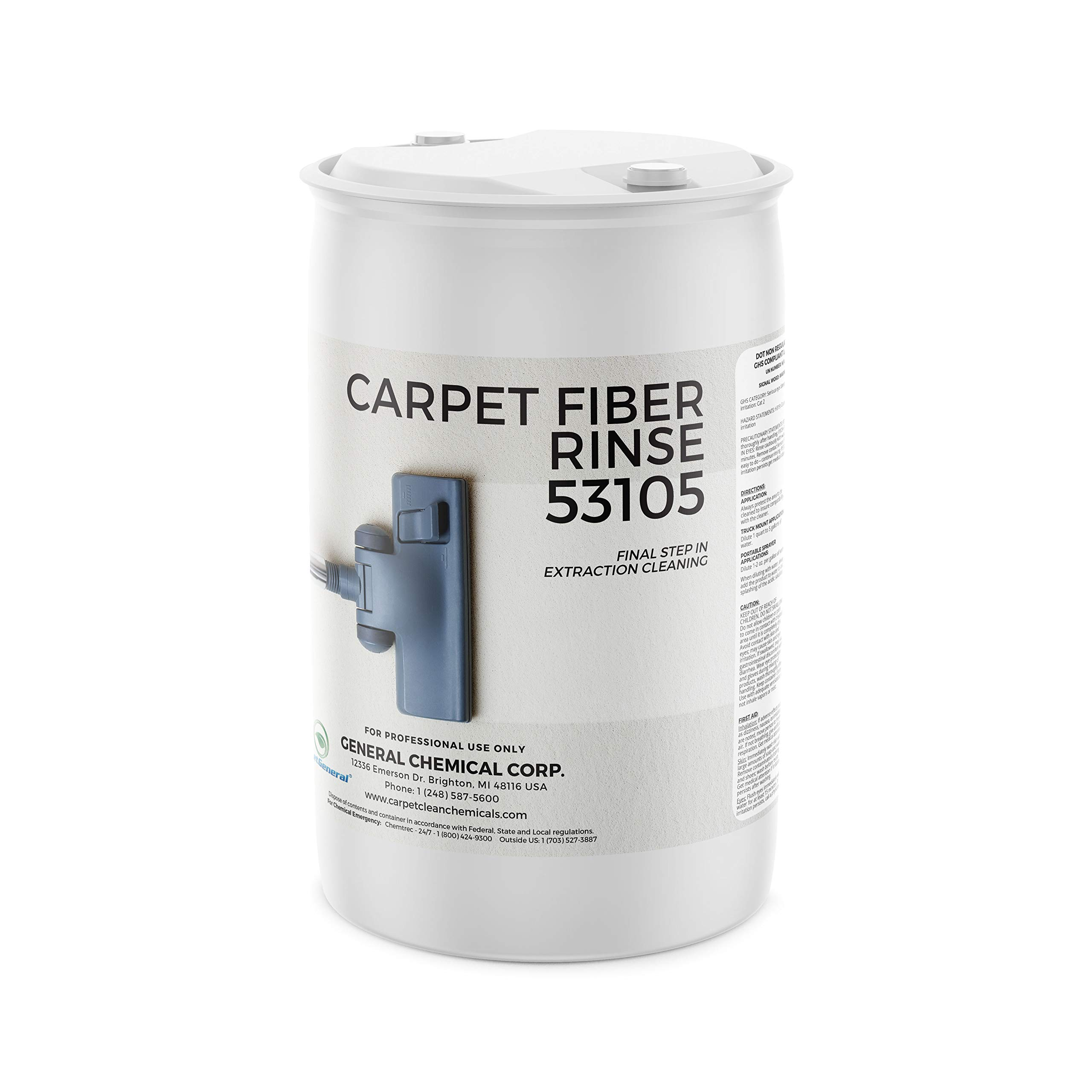 Carpet Fiber Rinse by CarpetGeneral | Professional Residue Attracting Agent | Prevents Browning, Yellowing & Bleeding of Carpet & Upholstery Dye | Residential & Commercial Use | Final Step | 55 Gallon