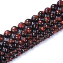 """Natural Stone Beads 6mm Red Tiger Eye Gemstone Round Loose Beads Crystal Energy Stone Healing Power for Jewelry Making DIY,1 Strand 15"""""""