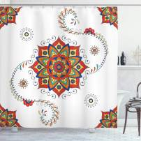 """Ambesonne Lotus Shower Curtain, Lotus Flower with Abstract Modern Style Mandala Influences Symmetric Folk Pattern, Cloth Fabric Bathroom Decor Set with Hooks, 75"""" Long, Red Blue"""