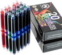 Extra Ink Cartridges for Most Fountain Pens Including Monaggio Pens. Fancy Pack of 20 Refill Cartridges for your Fountain Pens and Monaggio Pen: Blue, Purple, Green & Red