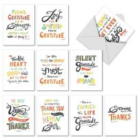 10 Gratitude and Thank You Cards with Envelopes 4 x 5.12 inch - Words Of Appreciation Greeting Cards for Wedding, Baby Shower, Thanksgiving - Boxed Occasion Stationery Note Card Set M10019TY