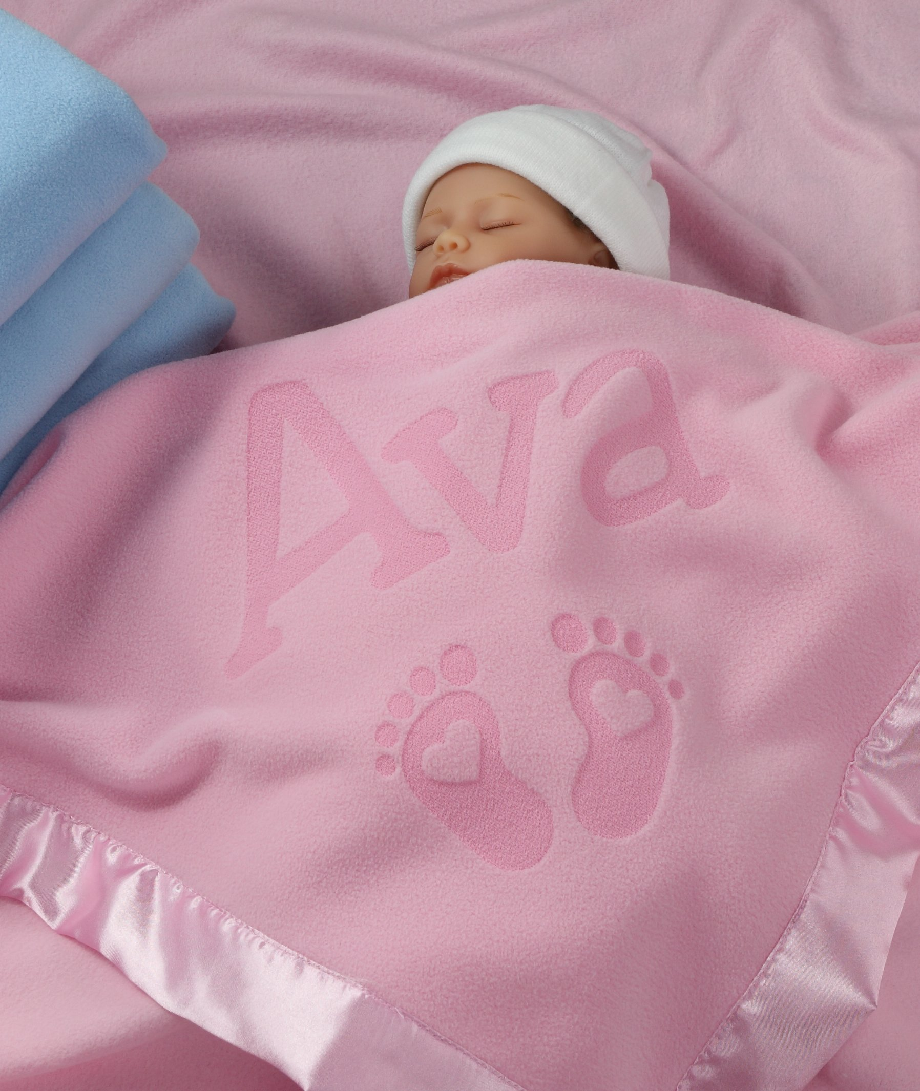 Custom Catch Personalized Newborn Gift Baby Blanket for Girl - Name with Infant Heart Feet Design - Pink or Blue (1 Line Text)
