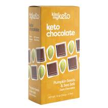 Kiss My Keto Chocolate — Low Carb 100% Sugar Free Chocolate Bars | Pumpkin Sea Salt, 4 Bars | Keto Dark Chocolate | No Soluble Corn Fiber, Stevia Sweetened, Infused with MCT Oils
