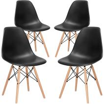 Poly and Bark Modern Mid-Century Side Chair with Natural Wood Legs for Kitchen, Living Room and Dining Room, Black (Set of 4)