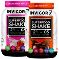 INVIGOR8 Superfood Shake (Choc and Strawberry Bundle) Gluten-Free Non GMO Meal Replacement Grass-Fed Whey Protein Shake with Probiotics and Omega 3 (1290g)