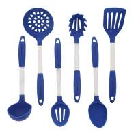 Blue Kitchen Utensil Set - Stainless Steel & Silicone Heat Resistant Professional Cooking Tools - Spatula, Mixing & Slotted Spoon, Ladle, Pasta Fork Server, Drainer - Bonus Ebook!