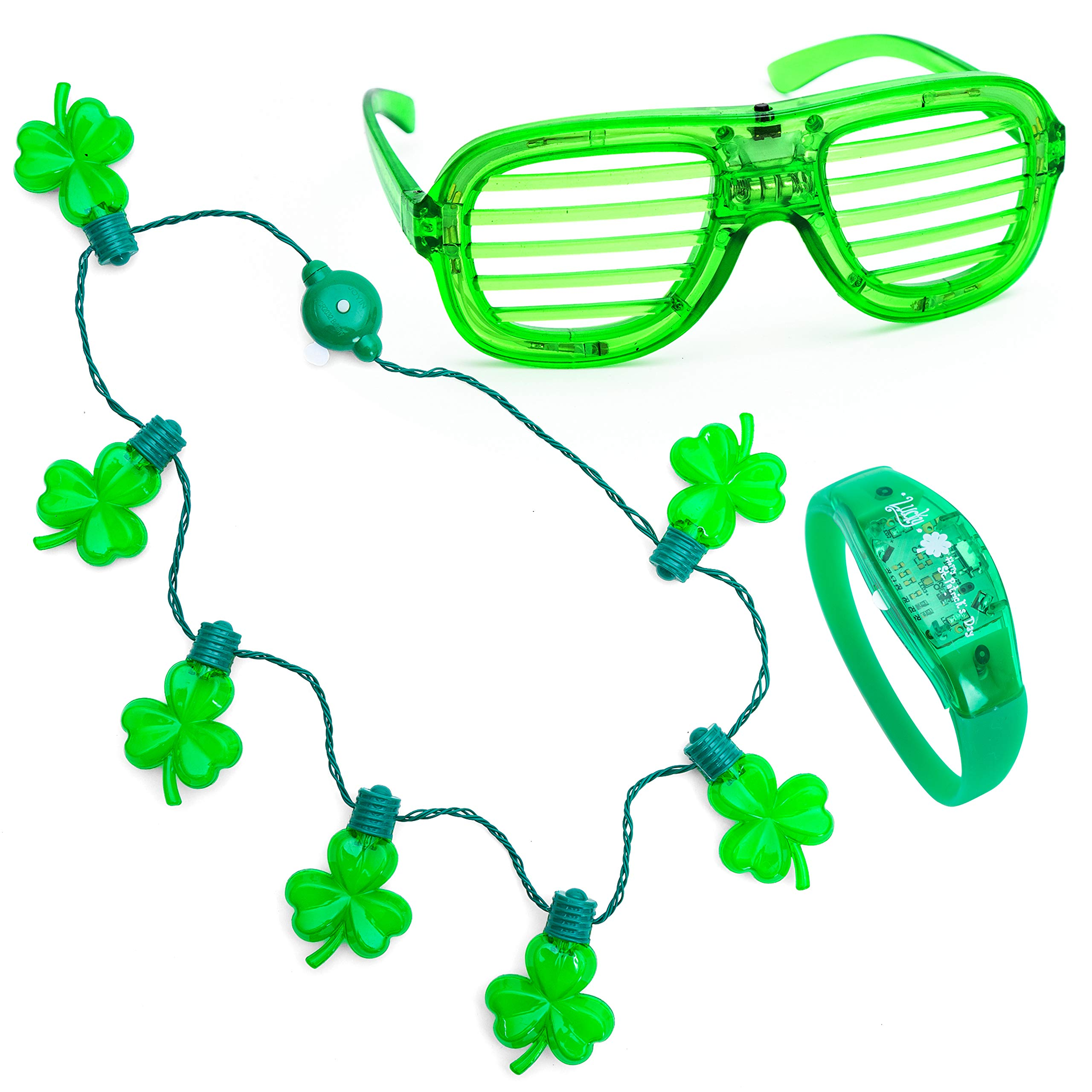 JOYIN St. Patrick's Day LED Light Up Shamrock Necklace Glow in the Dark St Patricks Bracelet Light-up Glasses Saint Patricks Day Party Accessories