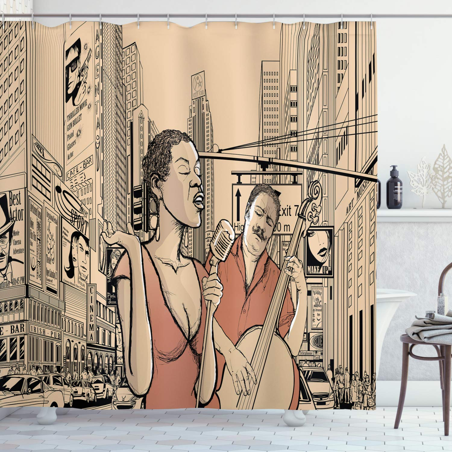 """Ambesonne Jazz Music Shower Curtain, Jazz Singer with Double-Bass Player in a Street of New York UrbLifestyle, Cloth Fabric Bathroom Decor Set with Hooks, 75"""" Long, Beige Brown"""