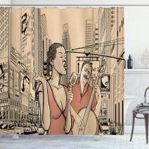 """Ambesonne Jazz Music Shower Curtain, Jazz Singer with Double-Bass Player in a Street of New York UrbLifestyle, Cloth Fabric Bathroom Decor Set with Hooks, 84"""" Long Extra, Beige Brown"""