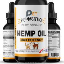 Pet Pawsitive - Hemp Oil for Dogs and Cats - Made in USA - Max Potency - Calming Aid - Separation Anxiety, Joint Pain, Stress Relief, Pains, Pet Relief - Omega 3, 6 & 9 – 100% Organic
