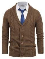 Paul Jones Mens Shawl Collar Sweaters Button Down Cable Knit Cardigan Sweater