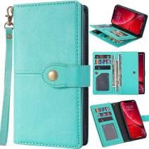 iPhone 11 Pro 2019 Wallet Case for Women/Men,Auker Heavy Duty Trifold 7 Card Holder Folio Flip Vintage Book Leather Magnetic Buckle Folding Kickstand Purse Case with Wallet/Strap/Money Pocket (Mint)