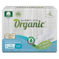Audrey Sun Organic Pads and Organic Panty Liners for Women - Certified Organic Natural Cotton Pads - Large - 10 Count (Packaging May Vary) - Made in Korea LG10