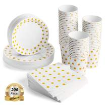 200 Pcs Serves 50, Gold Party Supplies Set | Strong | No Flimsy Plates Or Leaky Cups | Polka Dot Disposable Paper Dinnerware | Includes Dinner Plates, Dessert Plates, Cups & 3-Ply Napkins