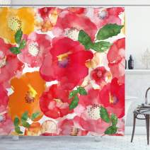 """Ambesonne Flower Shower Curtain, Watercolor Styled Effect Floral Theme Flowers and Leaves Pattern Art, Cloth Fabric Bathroom Decor Set with Hooks, 70"""" Long, Orange Red"""