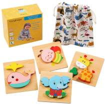 Wooden Animal Jigsaw Puzzles, Wooden Shapes Puzzles for Toddlers 1 2 3 Years Old, Boys & Girls Educational Toys Gift with 4 Animals Patterns,Come with a Free Drawstring Bag for Easy Storage