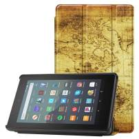 Famavala Shell Case Cover Compatible with All-New Fire 7 Tablet [9th Generation, 2019 Release] (MapBrown)