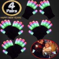 4 Pairs Led Gloves Light Up Glow Glove New Year Eve Glow in The Dark Rave Party Supplies Birthday Xmas Light Up Toy Party Favor for Men Women 6 Mode Flashing Finger Light for Christmas Glow Toys Large