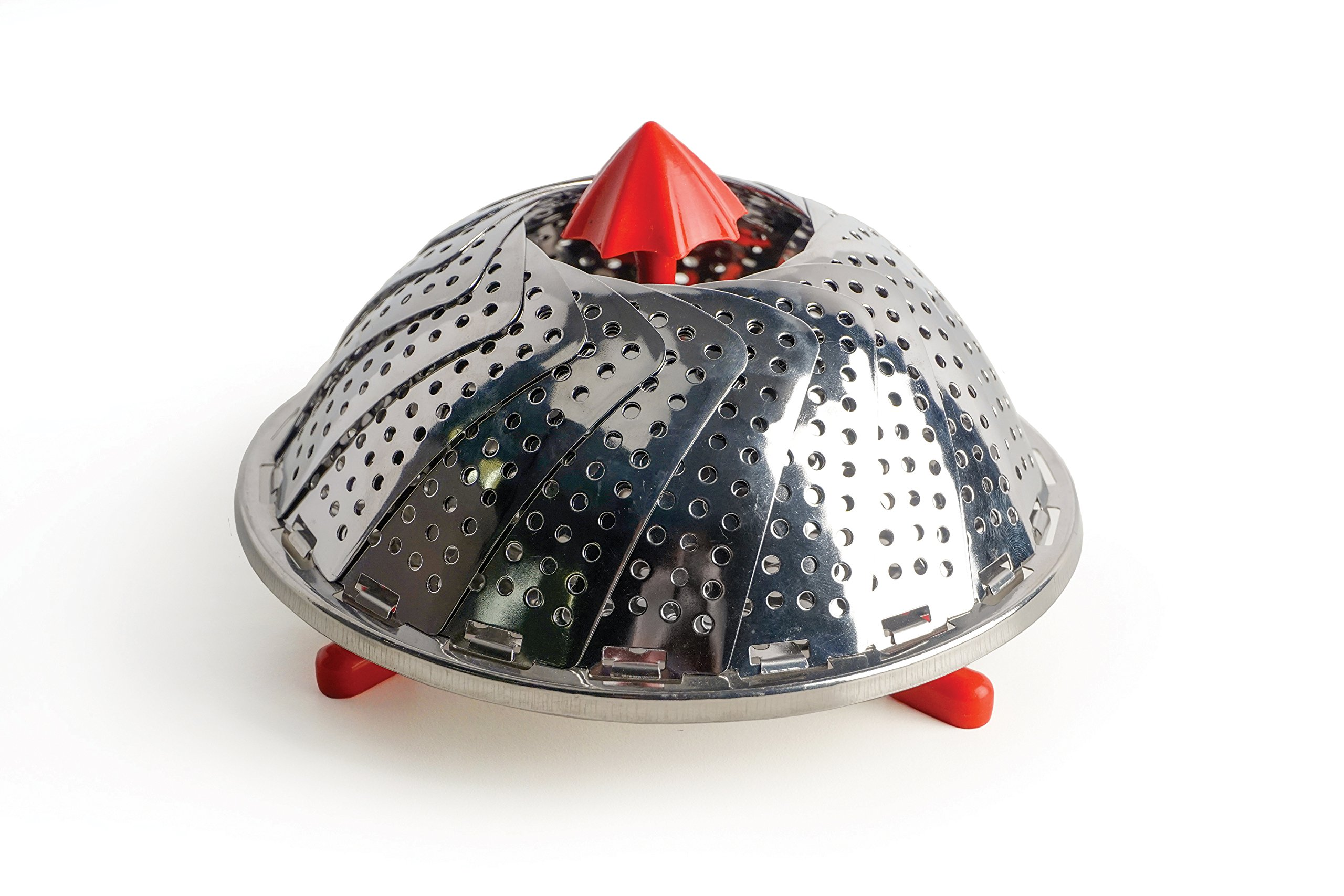 """RSVP International Endurance (RAIN-12) Stainless Steel Vegetable Steamer with Red Silicone Feet, 12"""" 