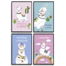 Llama gifts, Room Decor, Cute Room Decor, llama decor, llama gifts for girls, Posters For Teen Girls Room, llama wall art, llama llama , Wall Art Prints, Valentines Gifts Set of 4 11x17in.