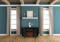 Cambridge CAM5630-1COF Stratford 56 In. Electric Corner Fireplace in Black Coffee with 1500W Fireplace Insert