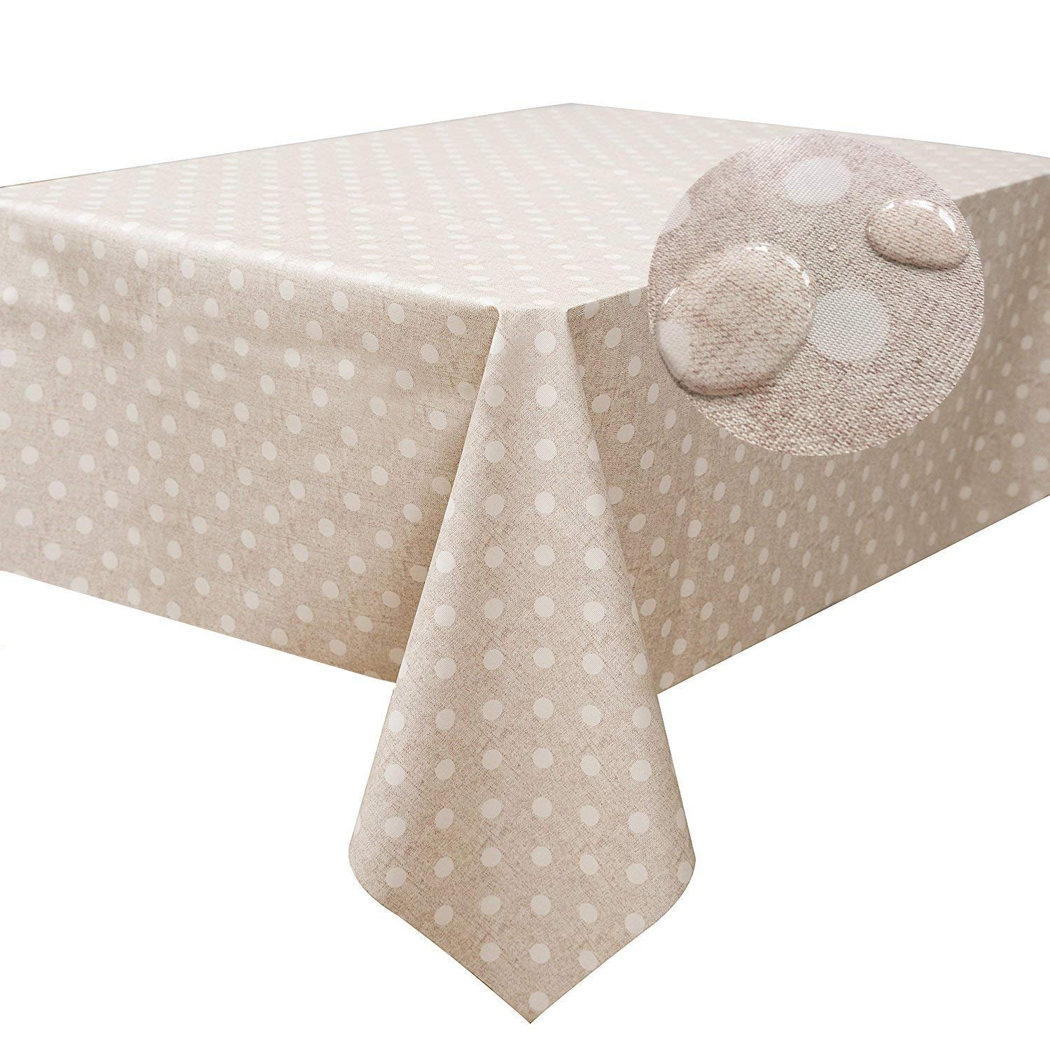 LEEVAN Heavy Weight Vinyl Square Table Cover Wipe Clean PVC Tablecloth Oil-Proof/Waterproof Stain-Resistant-54 x 54 Inch (Polka Dot)
