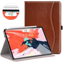 Ztotop for iPad Pro 12.9 Case 2018, Leather Folio Stand Case Smart Cover for 2018 iPad Pro 12.9-inch 3rd Generation (Supports iPad Pencil Charging) with Auto Sleep/Wake Strap Pocket - Brown