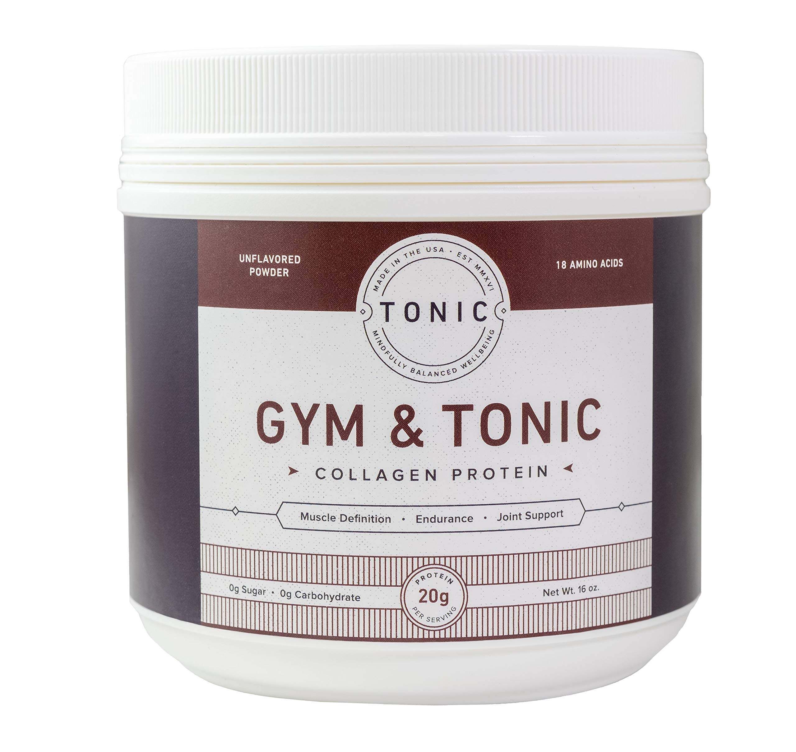 Tonic: Gym & Tonic Collagen Powder & Alternative to Whey Protein Powder, Paleo + Keto Friendly, Muscle Building, Bulletproof Collagen, Unflavored, 20 Servings