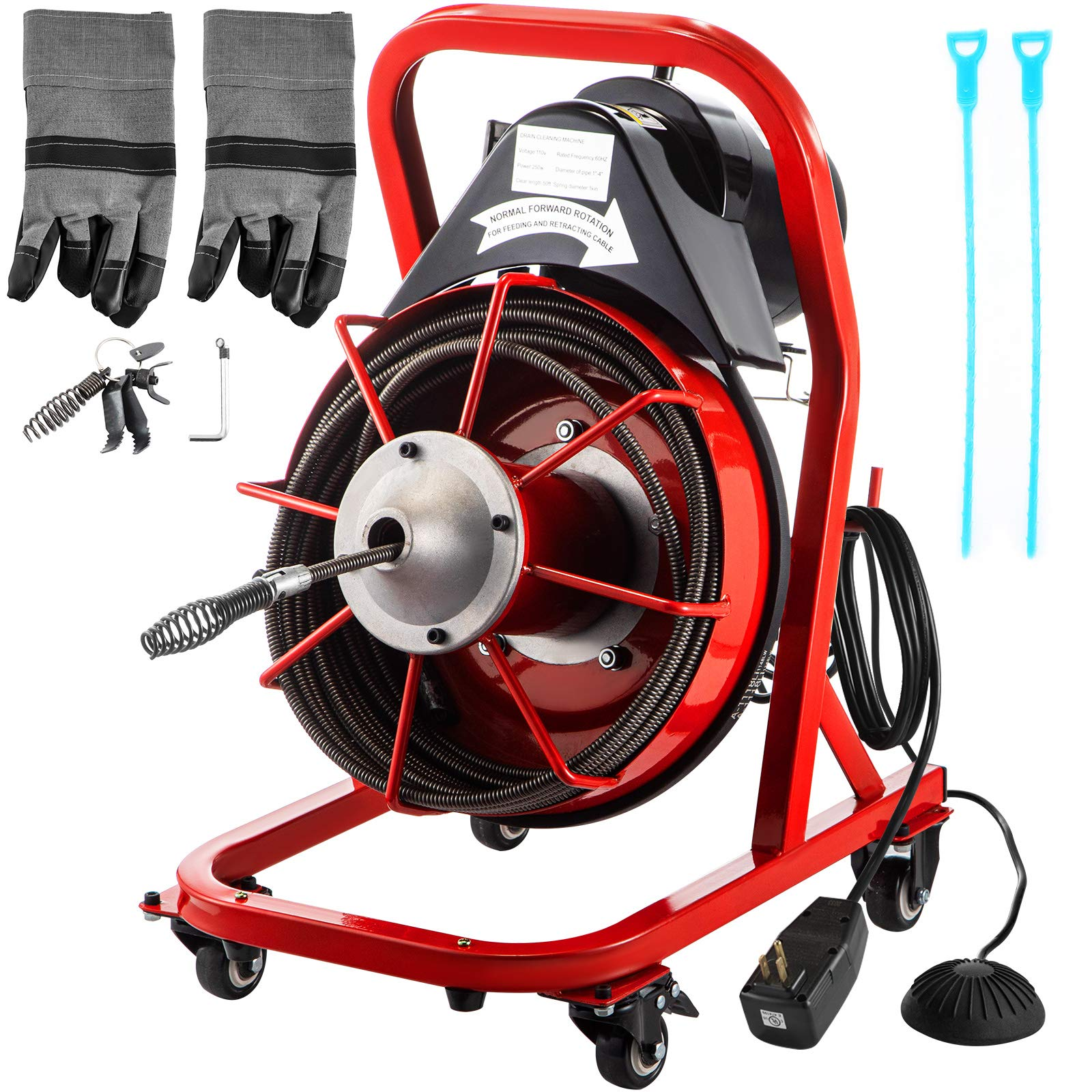 VEVOR Drain Cleaner Machine 50FT x 1/2In. Electric Drain Auger 370W Sewer Snake Machine Auto-feed Control, Fit 1-2''(51mm) to 4''(102mm) Pipes, w/Cutters & Foot Switch, for Drain Cleaners, Plumbers