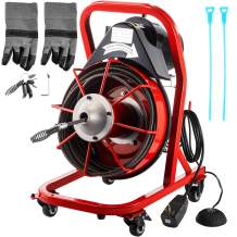 VEVOR Drain Cleaner Machine 75FT x 1/2In. Electric Drain Auger 370W Sewer Snake Machine Auto-feed Control, Fit 2'' - 4'' / 51 mm - 102 mm Pipes, w/Cutters & Foot Switch, for Drain Cleaners, Plumbers