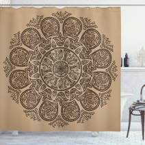 "Ambesonne Brown Mandala Shower Curtain, Abstract Round Mandala Designed with Flower Leaves and Stems Elements, Cloth Fabric Bathroom Decor Set with Hooks, 75"" Long, Tan Brown"