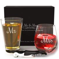 Mr Mrs Beer and Wine Glass Set and Bottle Opener, Funny Beer and Wine Glass set of 2, Funny Gift for Couples, Engagement Gift Idea for Couples, Wedding Gift, Anniversary Beer Wine Glasses for Couples