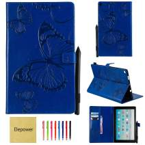 All-New Fire HD 10 Tablet(7th Generation/9th Generation, 2017/2019 Release), Elepower Butterfly Embossed Folio Folding Stand Cover with Card Stylus Holder for Kindle 10.1 Inch Tablet, Blue