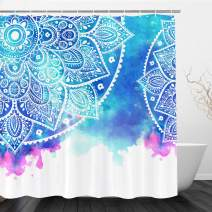 "VIMMUCIR Mandala Shower Curtain, Abstract Watercolor Indian Boho Print with South Asian Flower Artwork Fabric Bathroom Decor Set with Hooks, 72"" W x 72"" H, Blue"