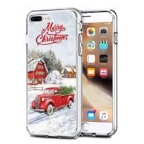 """Newseego Compatible with iPhone 7/8 Plus Christmas Case, Shockproof Series Anti-Yellow Hard PC + TPU Bumper Protective Cover for iPhone 7/8 Plus 5.5"""" Merry Christmas Car Design"""