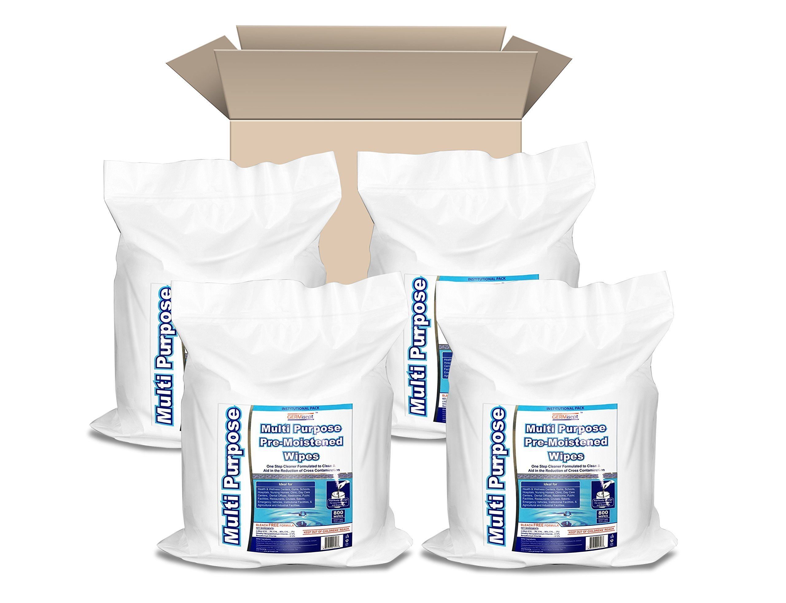 GERMISEPT Multipurpose Gym Wipes & Wellness Center Cleaning Wipes/Cart Wipes (800 Wipes/Roll X 4 Rolls = 3200 wipes)
