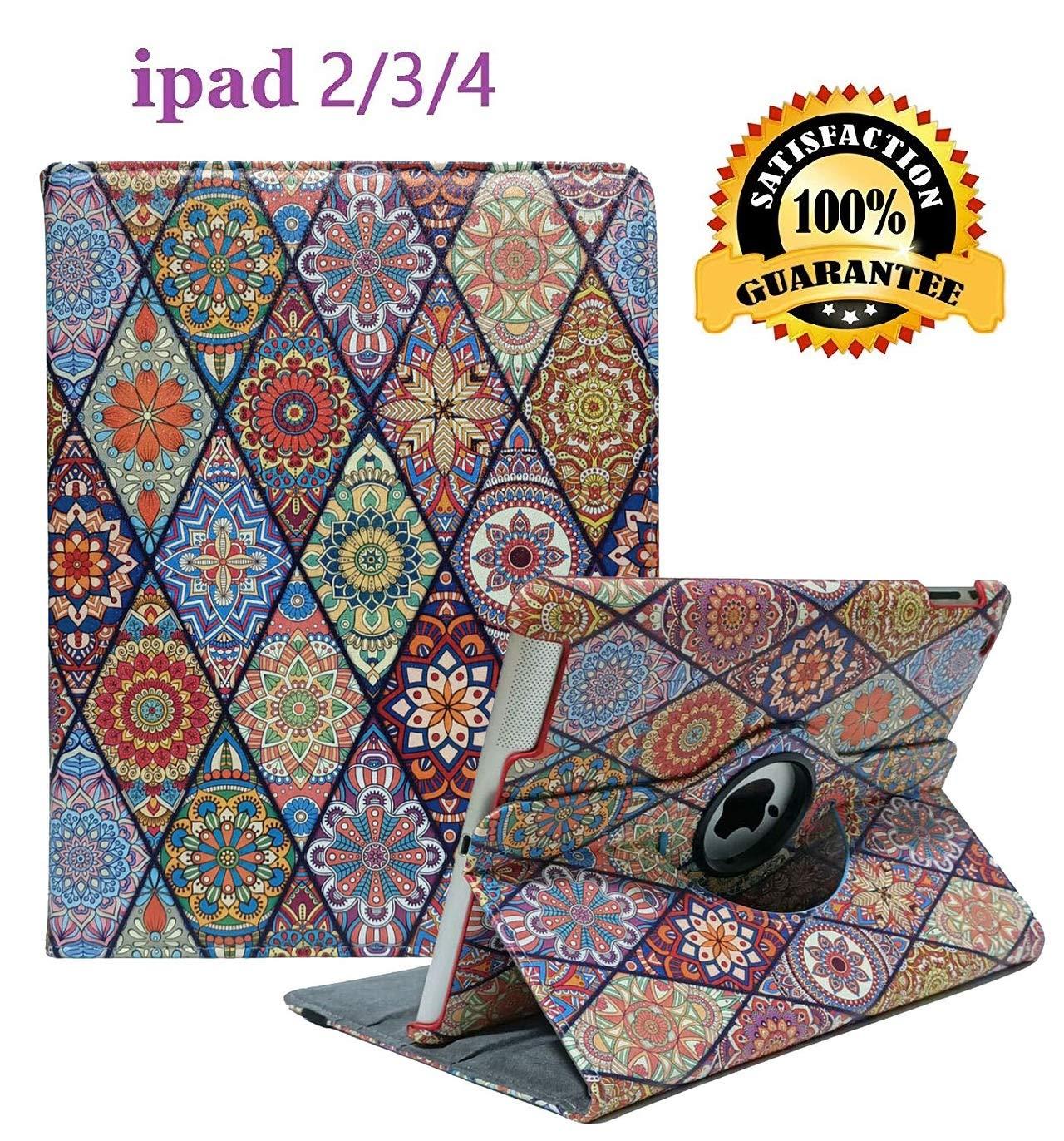 iPad 2/3/4 Case - 360 Degree Rotating Stand Smart Case Protective Cover with Auto Wake Up/Sleep Feature for Apple iPad 4, iPad 3 & iPad 2 (Diamond Flowers)