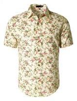uxcell Men Summer Floral Printed Short Sleeves Shirt Button Down Beach Hawaiian Shirt