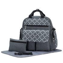 SoHo Bedford Diaper Bag Backpack 4Pc Set, Gray