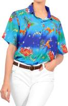 LA LEELA Women's Hawaiian Shirt Blouse Christmas Button Down Short Sleeve Aloha