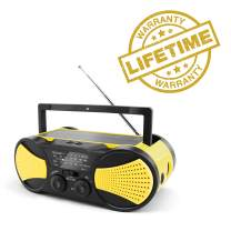 Crank Radio, NOAA Weather Radio, Audio Speaker, RunningSnail AM/FM Emergency Radio with 4000mAh Battery, 1W Flashlight, 4LED Reading Lamp,1W Solar Panel Charger, SOS Alarm(Yellow)