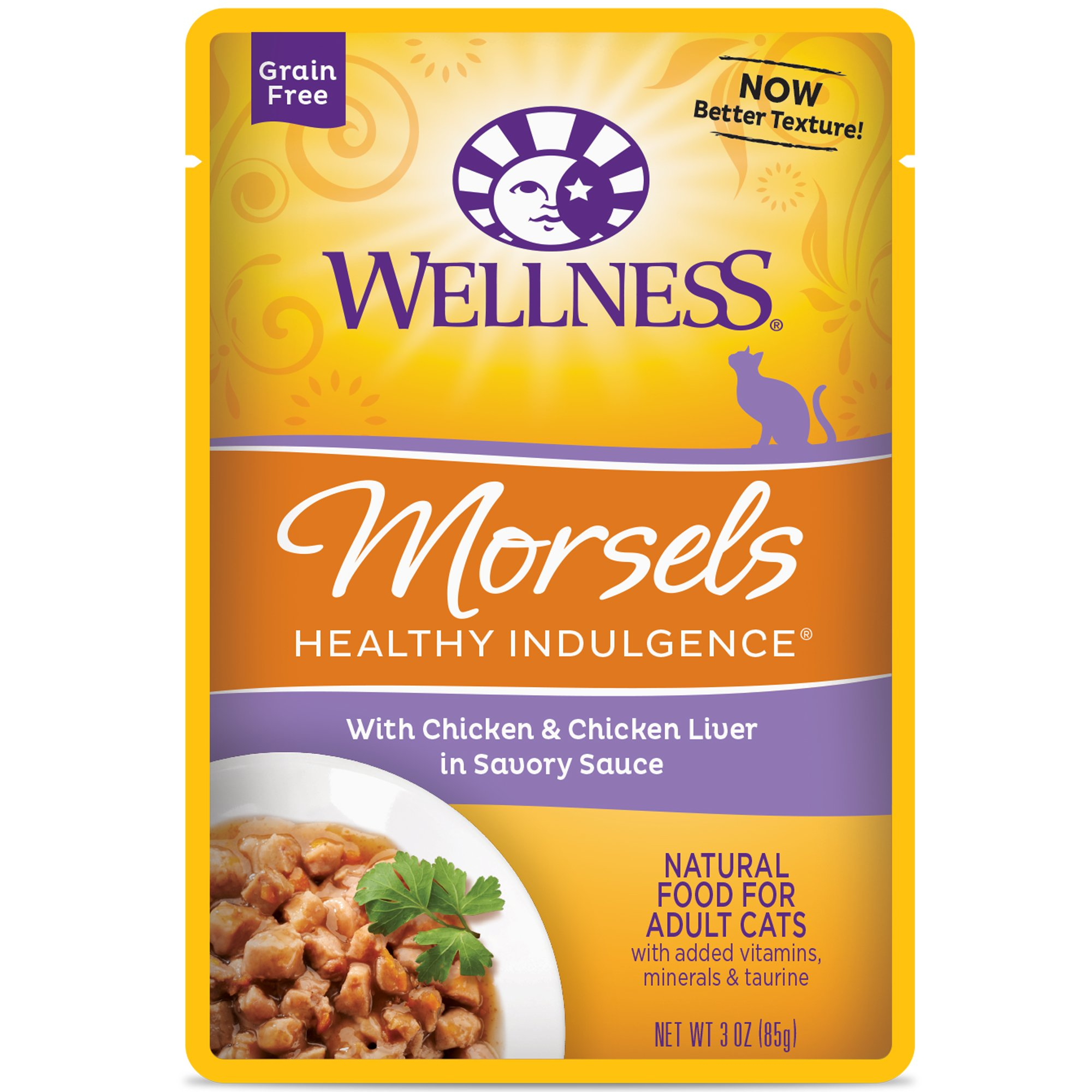 Wellness Healthy Indulgence Natural Grain Free Wet Cat Food Pouches Morsels Chicken & Chicken Liver