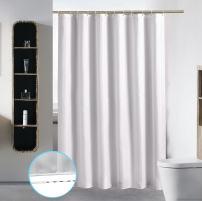"Bathroom Shower Curtain Liner Washable Fabric Waterproof Polyester (Hotel Quality Friendly Damask Stripe Cortinas Baño) & Heavy Duty Plastic Hooks Set (54"" x 78"", Stripe White)"