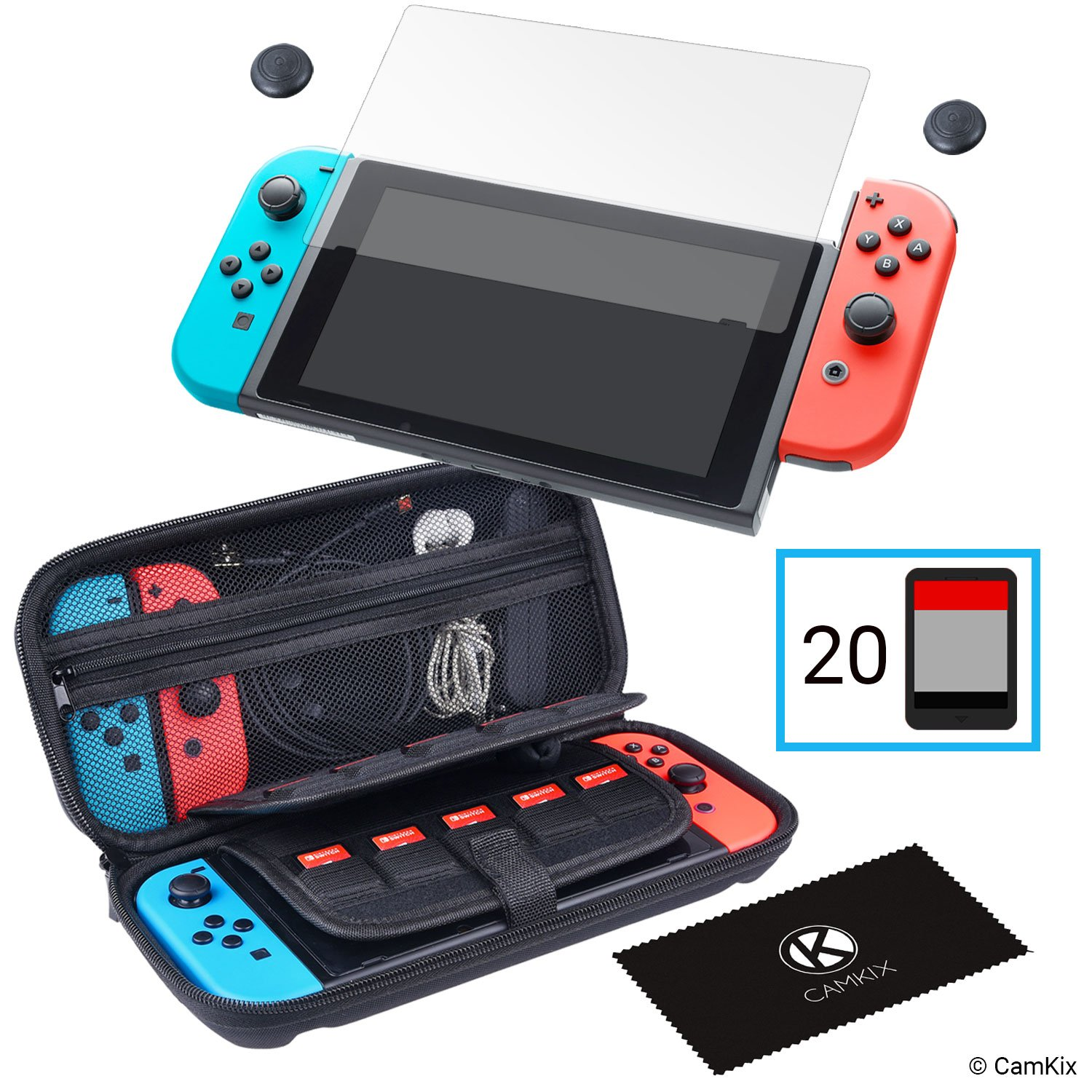 CamKix Storage and Protection Kit Compatible with Nintendo Switch: Hard Shell Nylon Case with 20 Game Card Inserts, Tempered Glass Screen Protector, Thumb Grip Covers, Cleaning Cloth