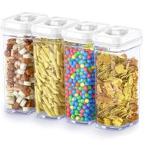 DWËLLZA KITCHEN Food Storage Containers with Lids Airtight – 1.5 Qt (4 Piece set/All Same Size) Clear Plastic Kitchen & Pantry Organization Container - BPA-Free - Keeps Food Fresh & Dry