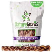 Nature Gnaws Braided Bully Sticks for Large Dogs - Premium Natural Beef Bones - Long Lasting Dog Chew Treats for Aggressive Chewers - Rawhide Free - 12 Inch (5 Count)
