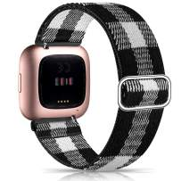 Witzon Elastic Bands Compatible with Fitbit Versa 2 / Versa/Versa Lite, Soft Loop Nylon Fabric Breathable Stretchy Replacement Straps for Versa Smartwatch Wristband for Women Men, Black White Plaid