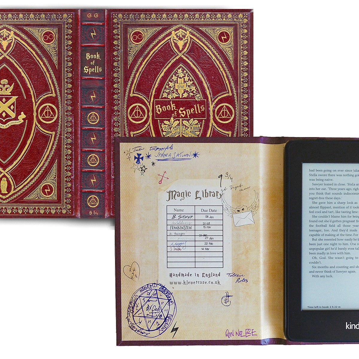 Kindle Paperwhite and Kindle eReader Case with Harry Potter Themed Book of Spells Cover (Compatible with New Paperwhite 2018) (New Gryffindor Red)