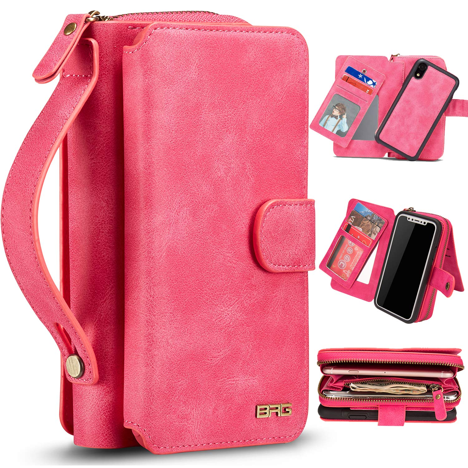 """XRPow Case for iPhone XR [2 in 1] Wallet Case Magnetic Detachable Cover Zipper Purse Clutch [Vegan Leather] iPhone XR Flip Case (6.1"""") with [11 Card Holder] [Mirror] - Hot Pink"""