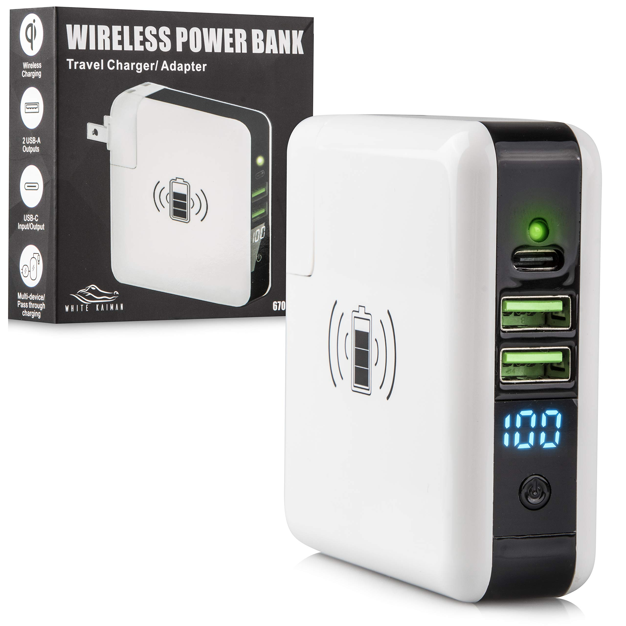White Kaiman Wireless Power Bank: Portable Battery Charge Pack with 2 USB A, 1 USB C, and QI Fast Charging Pad - External Backup Wall Charger for Mobile Phone, Laptop, and More - Slim Travel Charger